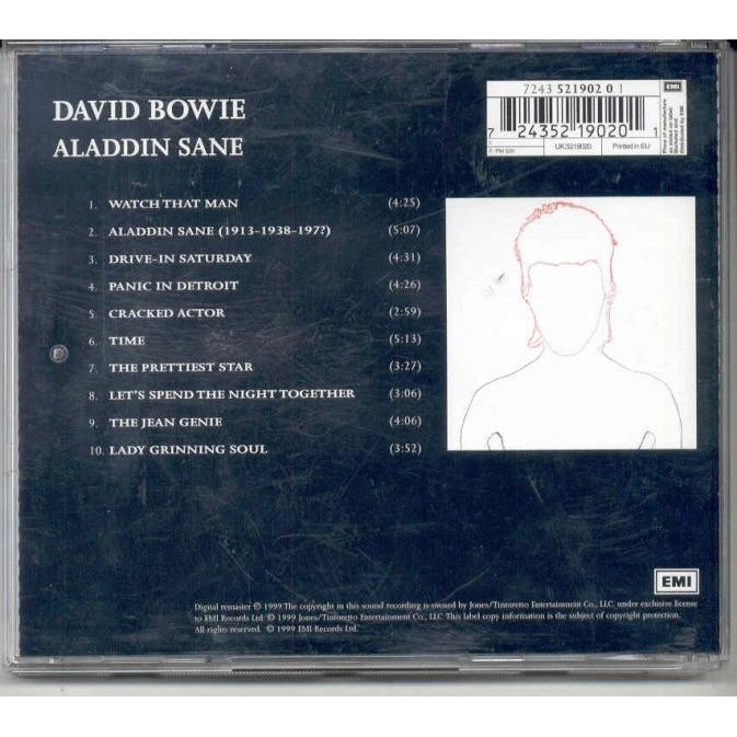 David Bowie Aladdin Sane (Euro 1999 Ltd 'Digitally Remastered' 10-trk enhanced CD album stickered ps)