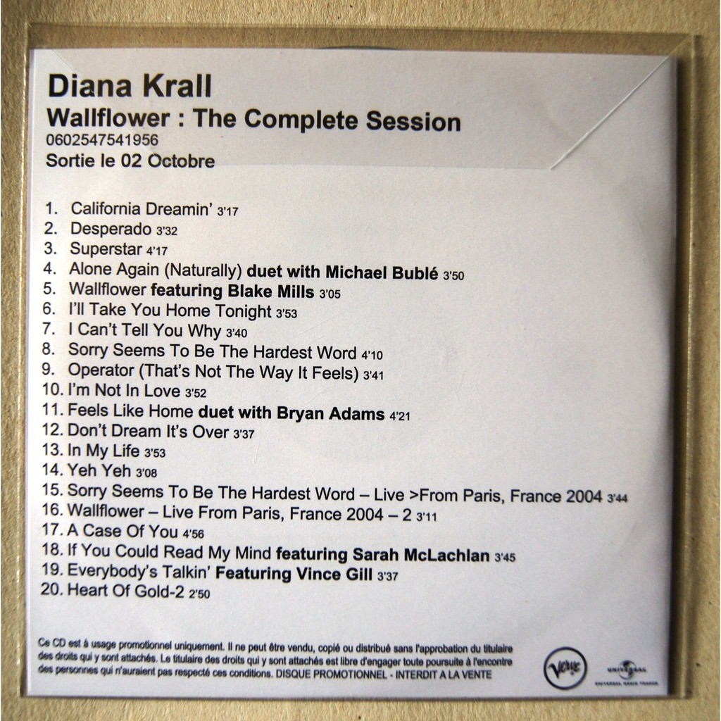 Wallflower The Complete Session Promo By Diana Krall