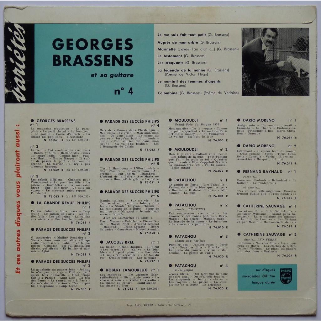 Georges Brassens Et Sa Guitare N4 Avec Des Poèmes De Victor Hugo Et Paul Verlaine De Georges Brassens 25 Cm Con Yajm22