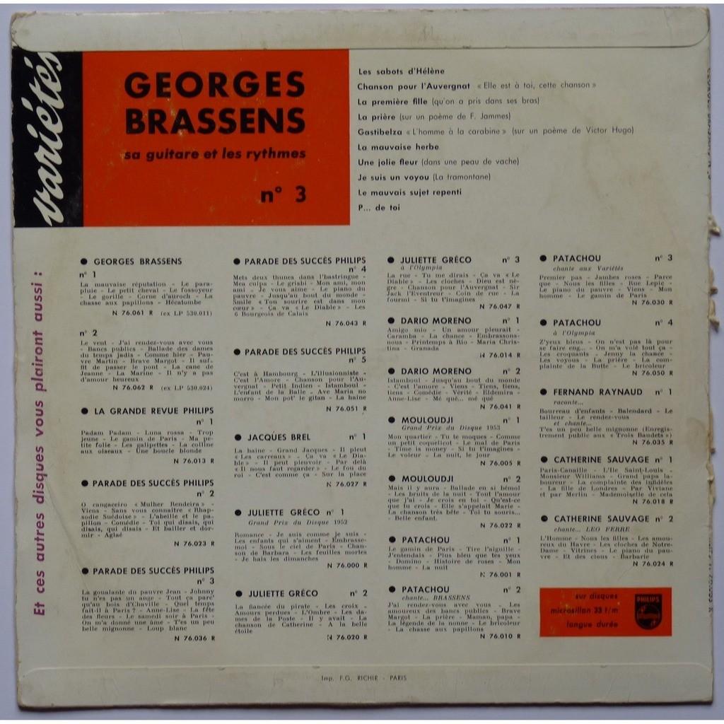 Georges Brassens N3 Avec Des Poèmes De Francis Jammes Et Victor Hugo De Georges Brassens 25 Cm Con Yajm22