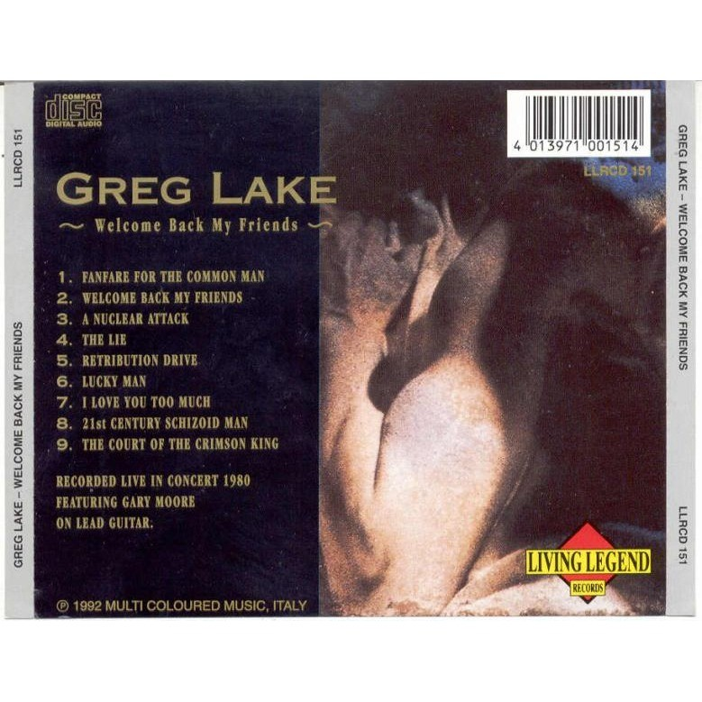 emerson lake & palmer / ELP / Greg Lake Welcome Back My Friends (Recorded live in Concert 1980)