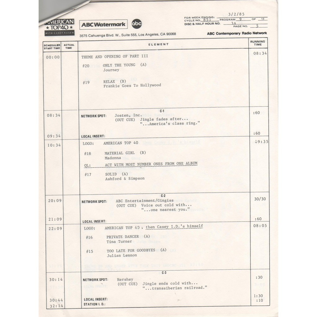 frankie goes to hollywood American Top 40 Program No.851-9 (USA 1985 promo 'ABC' 4LP Radio Show Co. slv + cues)