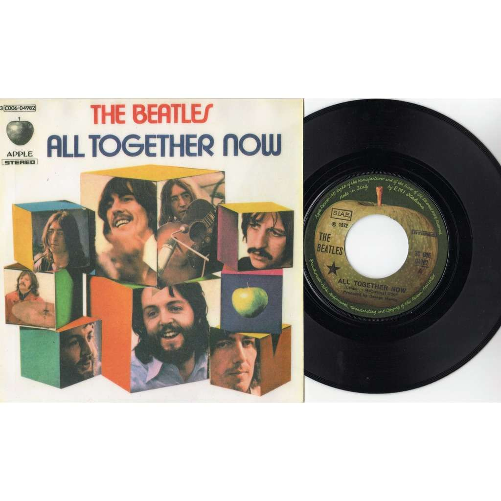 Beatles All Together Now (Italian 1972 2-trk 7single on Apple lbl unique ps)