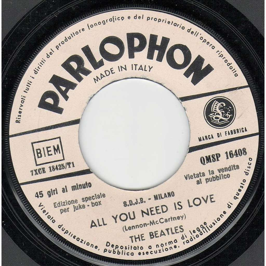Beatles All You Need Is Love (Italian 1967 2-trk w/label 7single promo on Parlophone lbl)