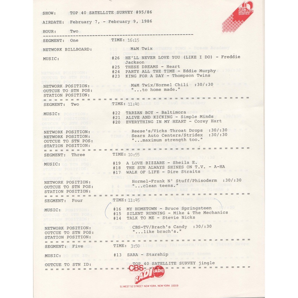 A-Ha Top 40 Satellite Survey Show #95/86 (USA 1986 promo 'CBS' 3LP Radio Show + cues sheet!!)