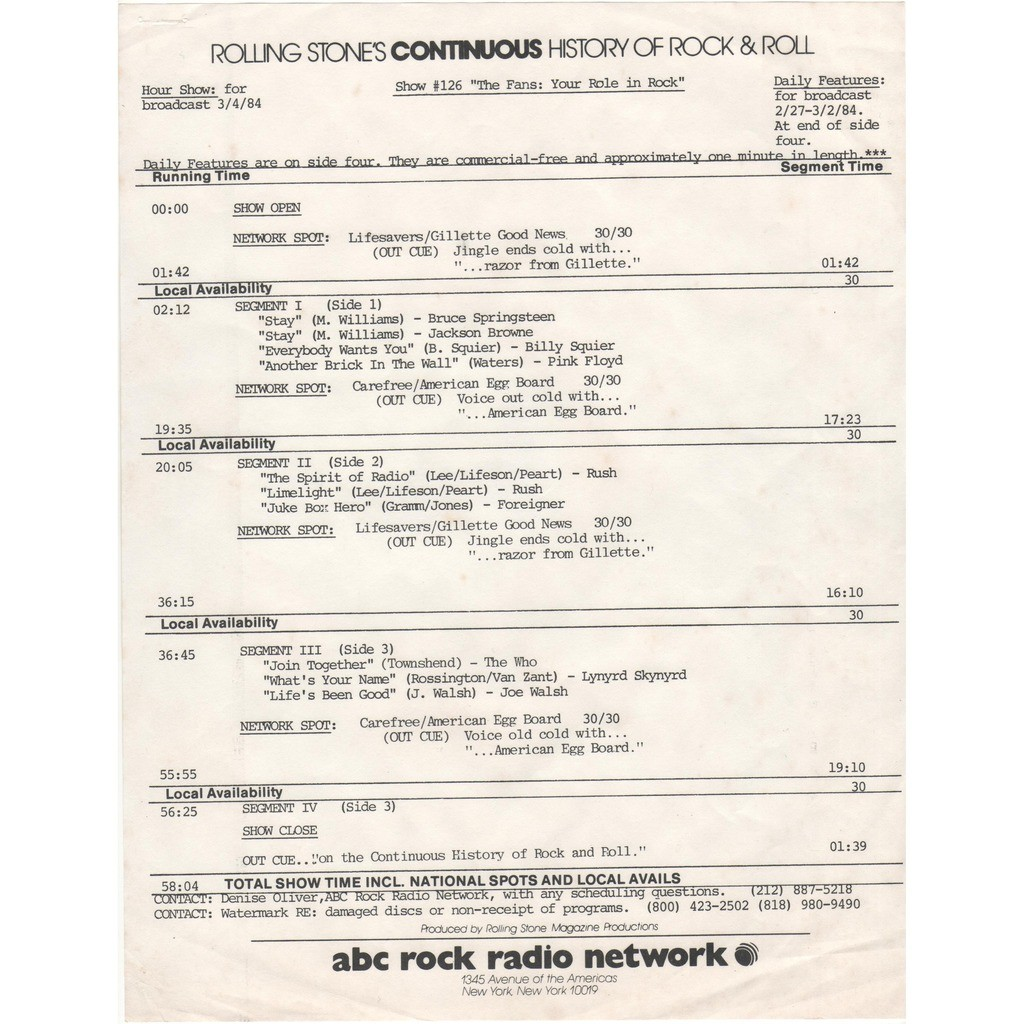 pink floyd Rolling Stones Continuous History Of R&R Show#126 (USA 1984'ABC' promo 2LP Radio Show BLU wax+cues!)