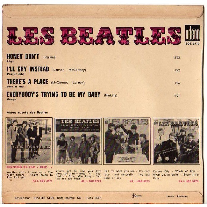 BEATLES Honey don't / I'll cry instead / There's a place / Everybody's trying to be my baby
