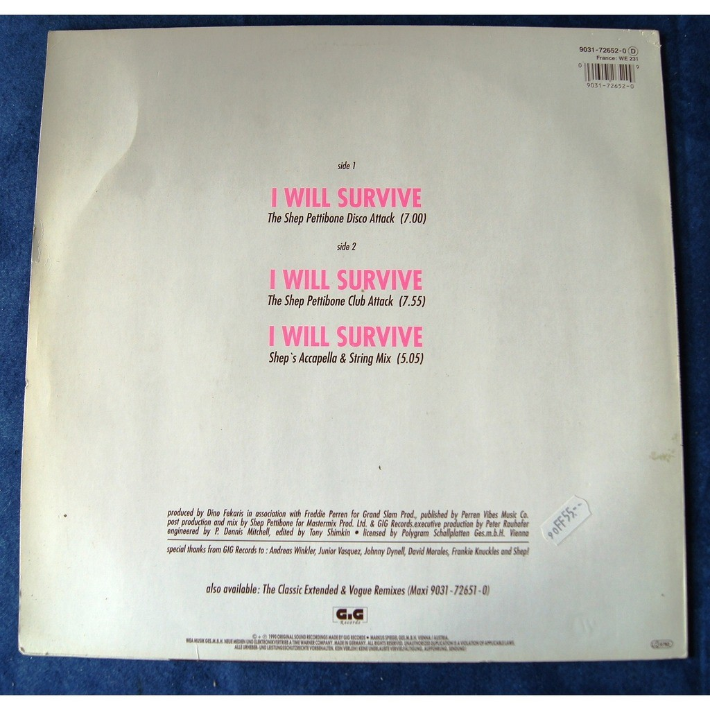 GAYNOR GLORIA I WILL SURVIVE shep pettibone remixes