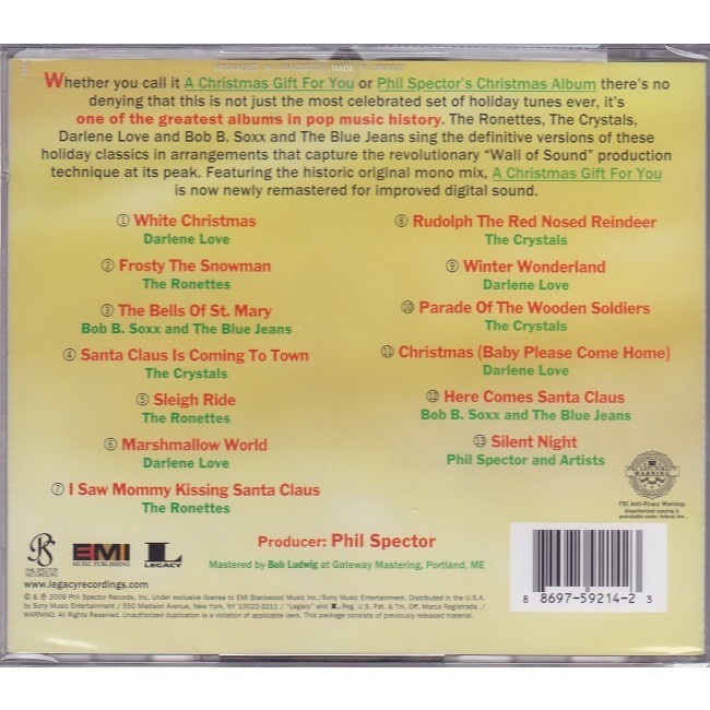 A Christmas Gift For You From Phil Spector.A Christmas Gift For You From Phil Spector By Phil Spector Cd With Backpagerecords