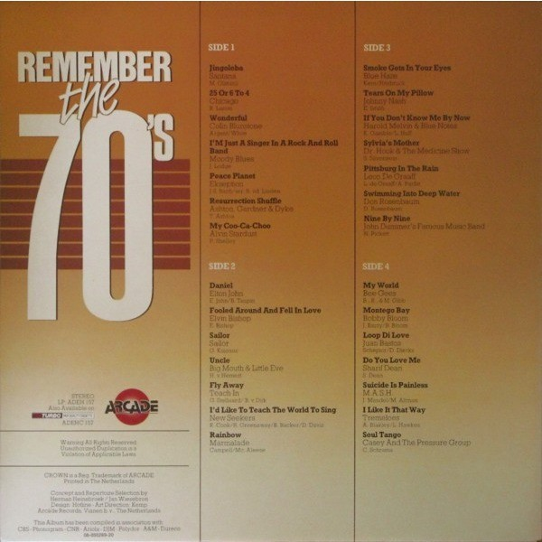 santana and 27 Various Artists Remember The 70's Volume 3 ( Compilation 28 Tracks )