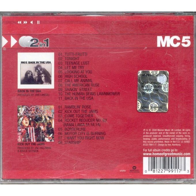 mc5 Back in The USA - Kick Out The Jams (Euro 2008 Ltd 2CD set unique ps)