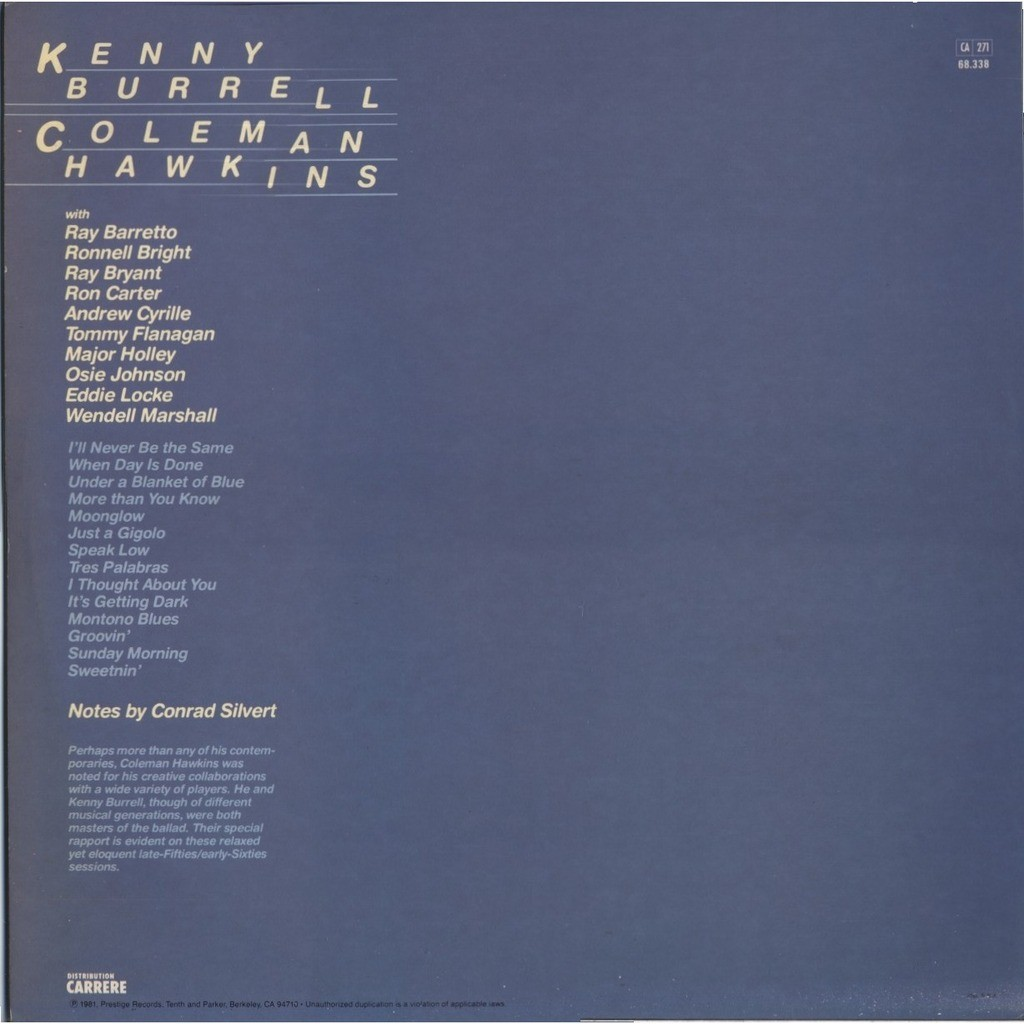 KENNY BURRELL and COLEMAN HAWKINS Moonglow ( double album )