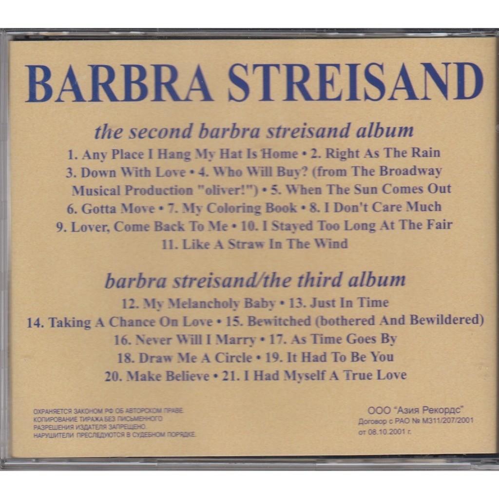 The coloring book barbra streisand -  Barbra Streisand The Second Barbra Streisand Album Barbra Streisand The Third Album Russia Cd