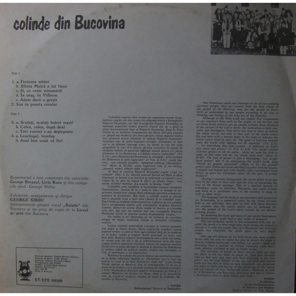 Colinde din bucovina (christmas carols) roumanie by George Sirbu, LP ...