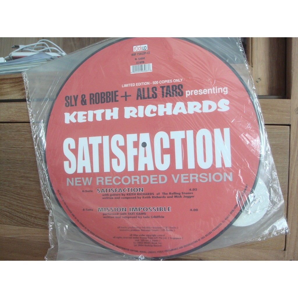 SLY & ROBBIE+ALL STARS FEAT KEITH RICHARDS I CAN'T GET NO SATISFACTION (picture disc)