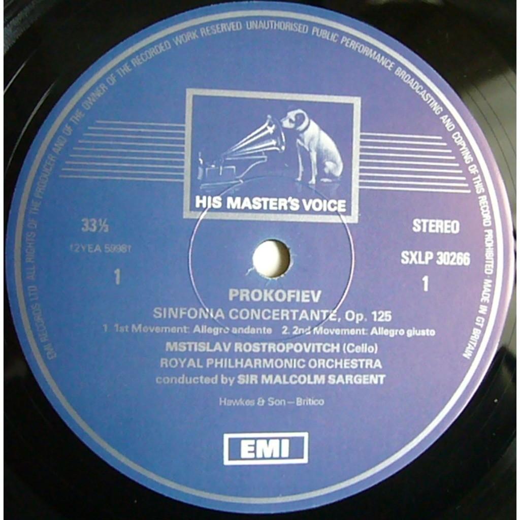 Prokofiev sinfonia concertante sargent, classical symphony op.25 uk hmv  sxlp 30266 mint by Mstislav Rostropovich / Efrem Kurtz, LP with  rarervnarodru - Ref: ...