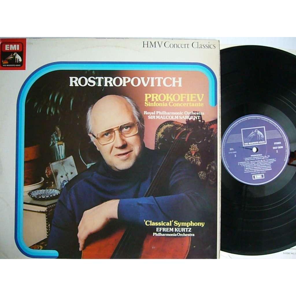 Mstislav Rostropovich / Efrem Kurtz Prokofiev Sinfonia Concertante Sargent,  Classical Symphony op.25 UK