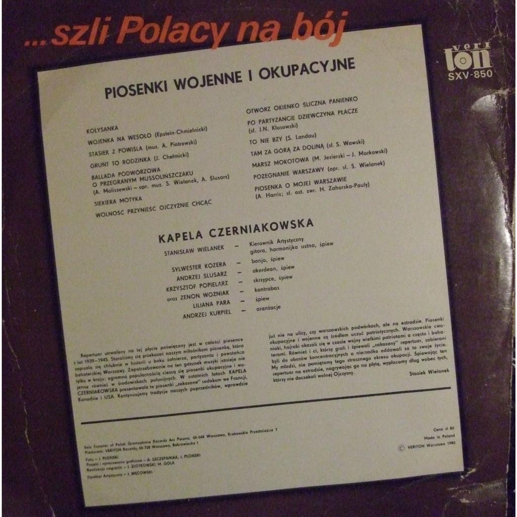 Piosenki wojenne i okupacyjne by Kapela Czerniakowska [Poland], LP with  mabuse