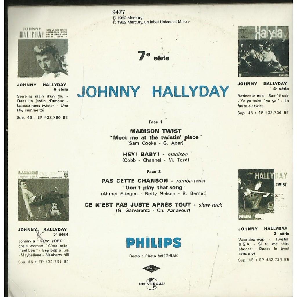 Johnny HALLYDAY Madison twist 4-track EP REPLICA CARD SLEEVE
