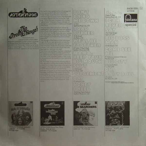 PRETTY THINGS (The) Attention! (original Germany press -1976)