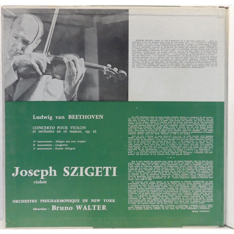 Joseph Szigeti / Bruno Walter Beethoven : Concerto for Violin and Orchestra