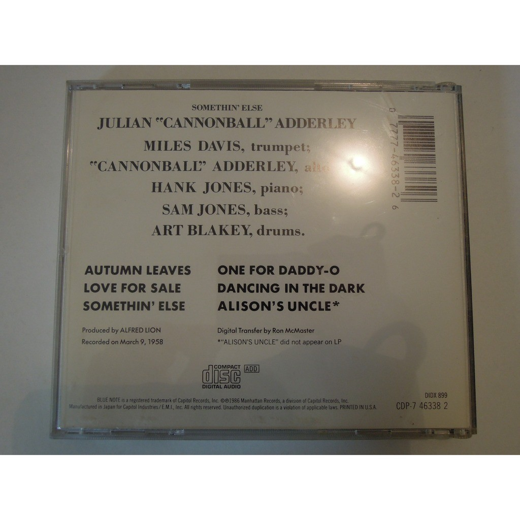 julian cannonball adderley, miles davis, hank j... somethin' else - hank jones, sam jones, art blakey