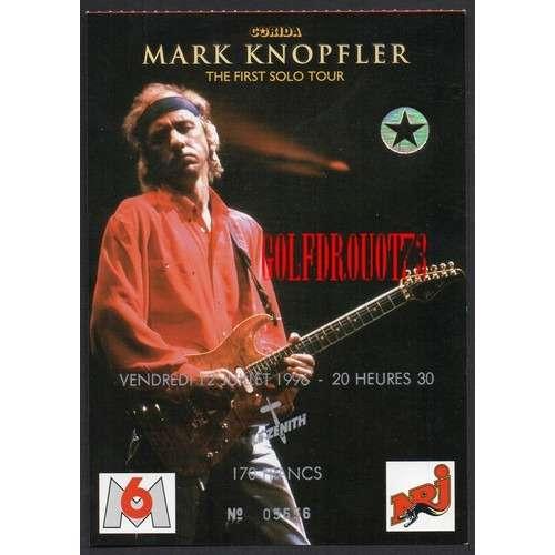 MARK KNOPFLER THE FIRST SOLO TOUR 96 . LE ZENITH . PARIS .. 12 JUILLET 1996 .. TICKET BILLET CONCERT ( UTILISE )