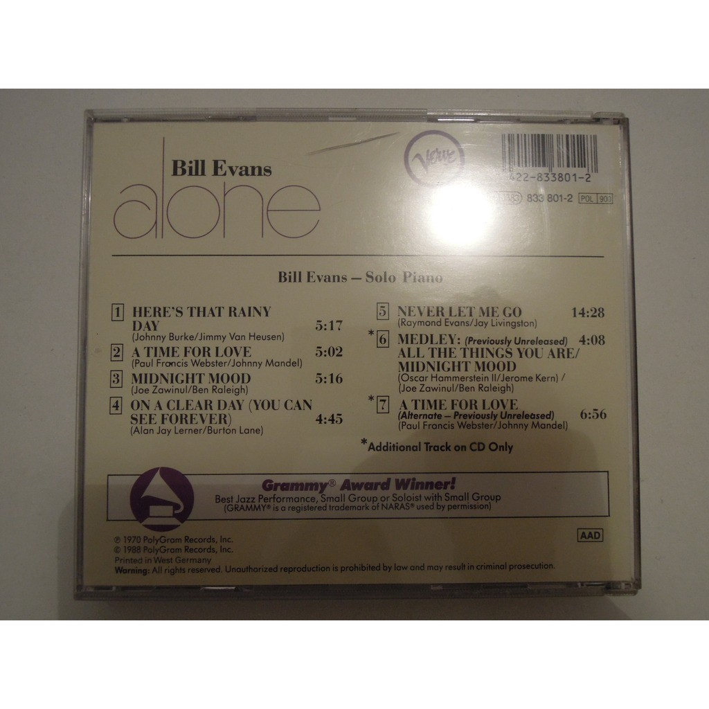Alone by Bill Evans, CD with pitouille
