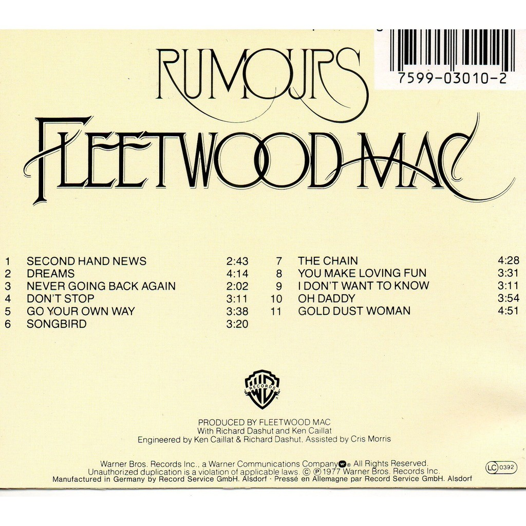 Rumours By Fleetwood Mac Cd With Didierf Ref 118219102