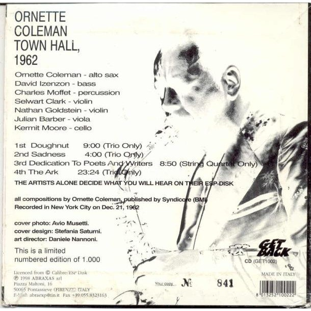 Ornette Coleman Town Hall 1962 (NYC 21 Dec. 1962) (Italian Ltd 1000 copies live CD card ps & inner slv & insert)