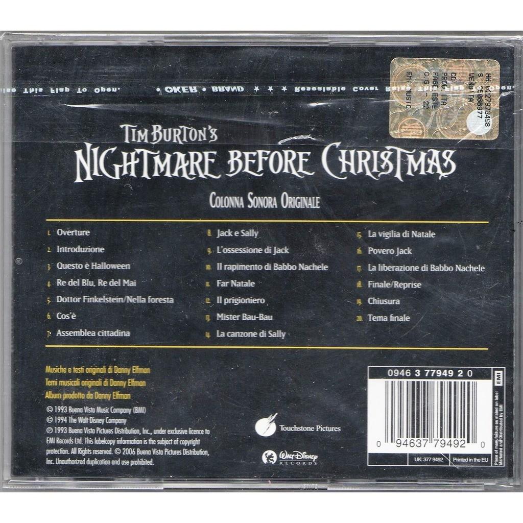 Tim burton's nightmare before christmas (italian 1995 ltd ost cd ...