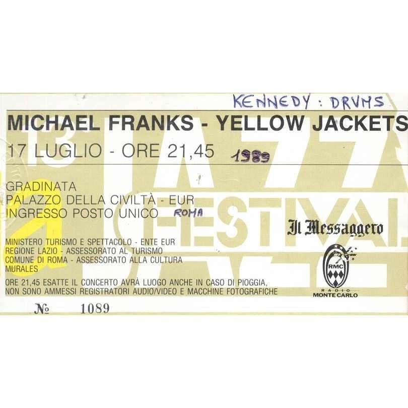 Yellow Jackets Palazzo Della Civilta' Eur 17 Luglio (Italian 90s original & genuine concert ticket)