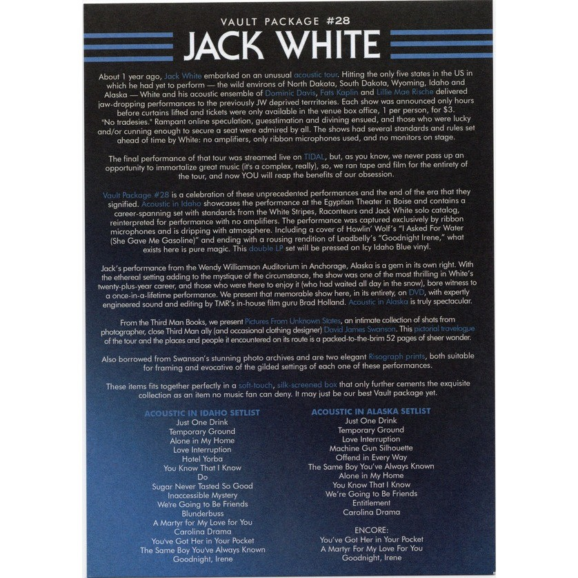 Jack White Acoustic tour 2015 Third Man Records Vault – Package 28
