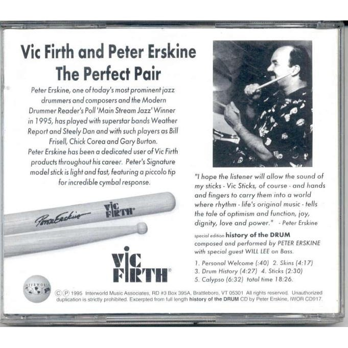Peter Erskine History Of The Drum (USA 1995 'Vic Firth Special Edition' Ltd 5-trk CD full ps)
