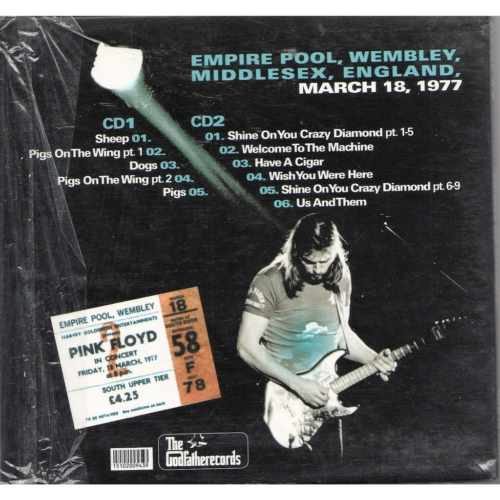 Animals On Empire Empire Pool Wembley Uk 18031977 By Pink Floyd