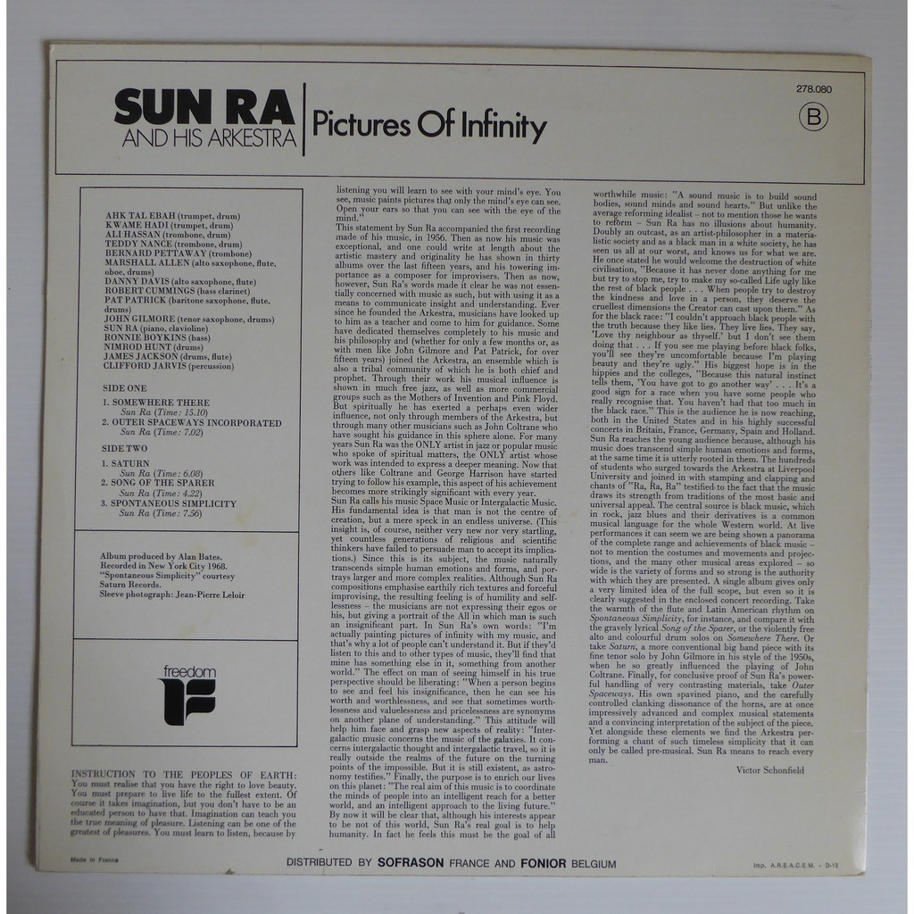 Sun Ra & his orchestra Pictures Of Infinity
