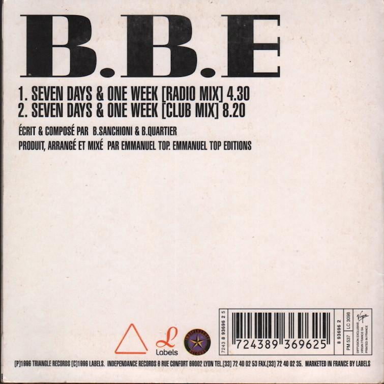 ... B.B.E Seven Days U0026 One Week (radio Mix + Club Mix) ...