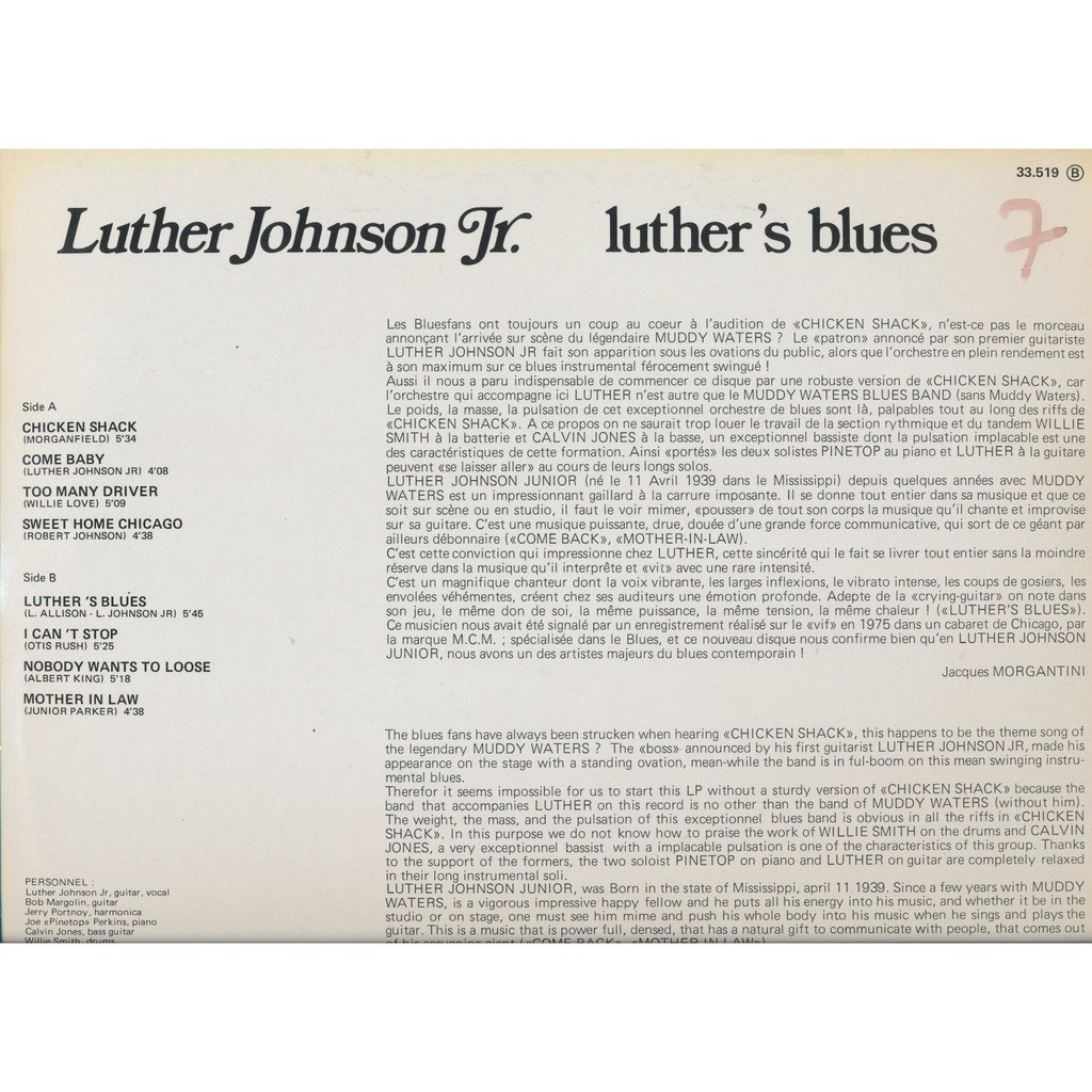 LUTHER JOHNSON JR. luther's blues