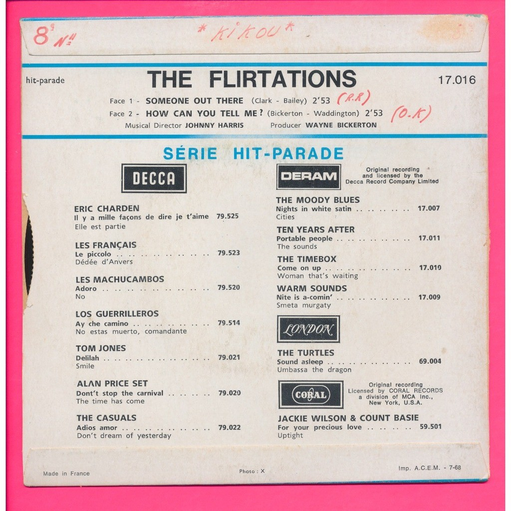 THE FLIRTATIONS someone out there - how can you tell me ?