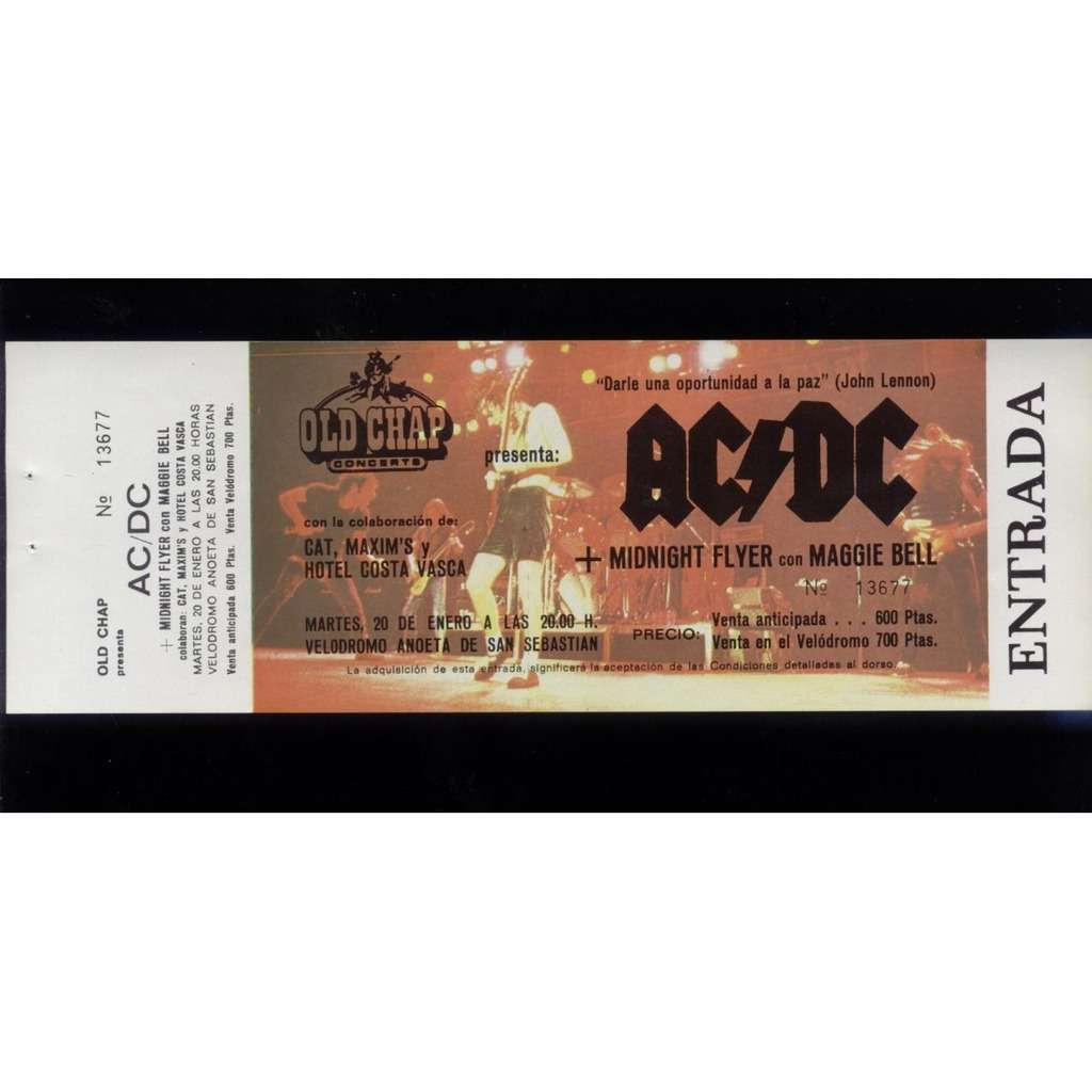 AC DC Spain 1981 unused concert ticket. NEW