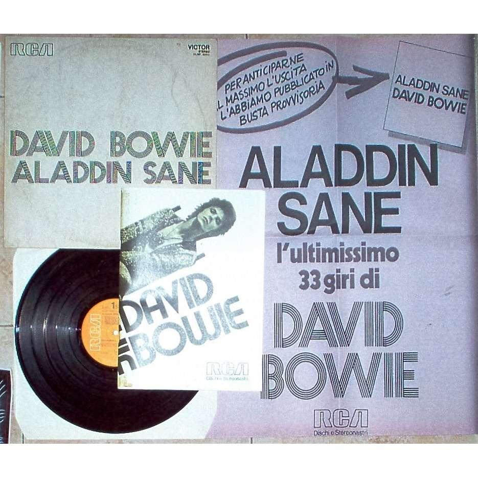 David Bowie Aladdin Sane (Italian 1973 Pre-Release 10-trk LP unique promo ps + promo book + promo poster)