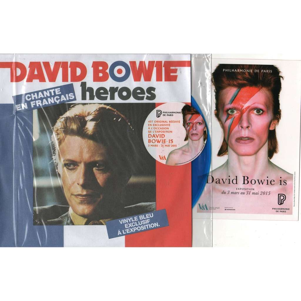 David Bowie Heroes (French 2015 Ltd 'David Bowie Is' exposition 2-trk 7 BLU wax full ps+ sticker+insert!!)
