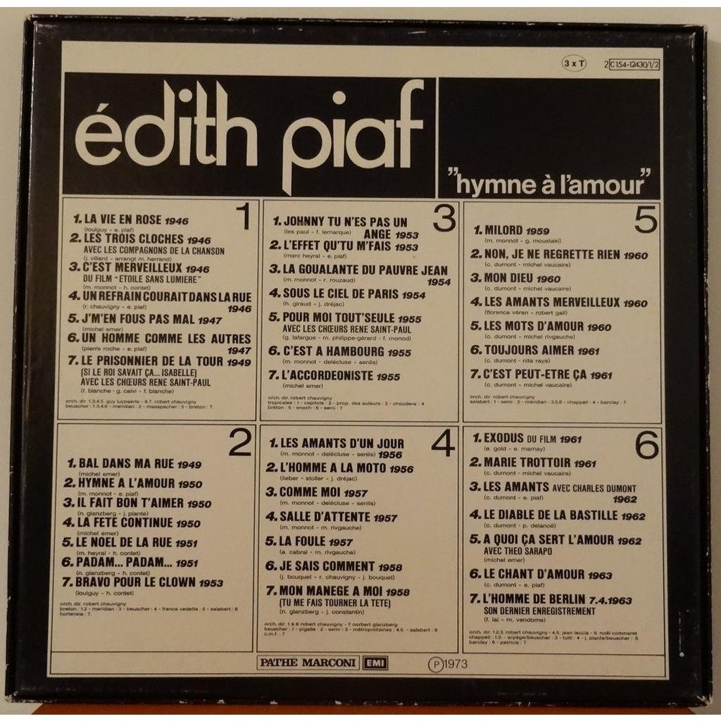 Hymne à Lamour De Edith Piaf 33 13 Rpm X 3 Con Agiron