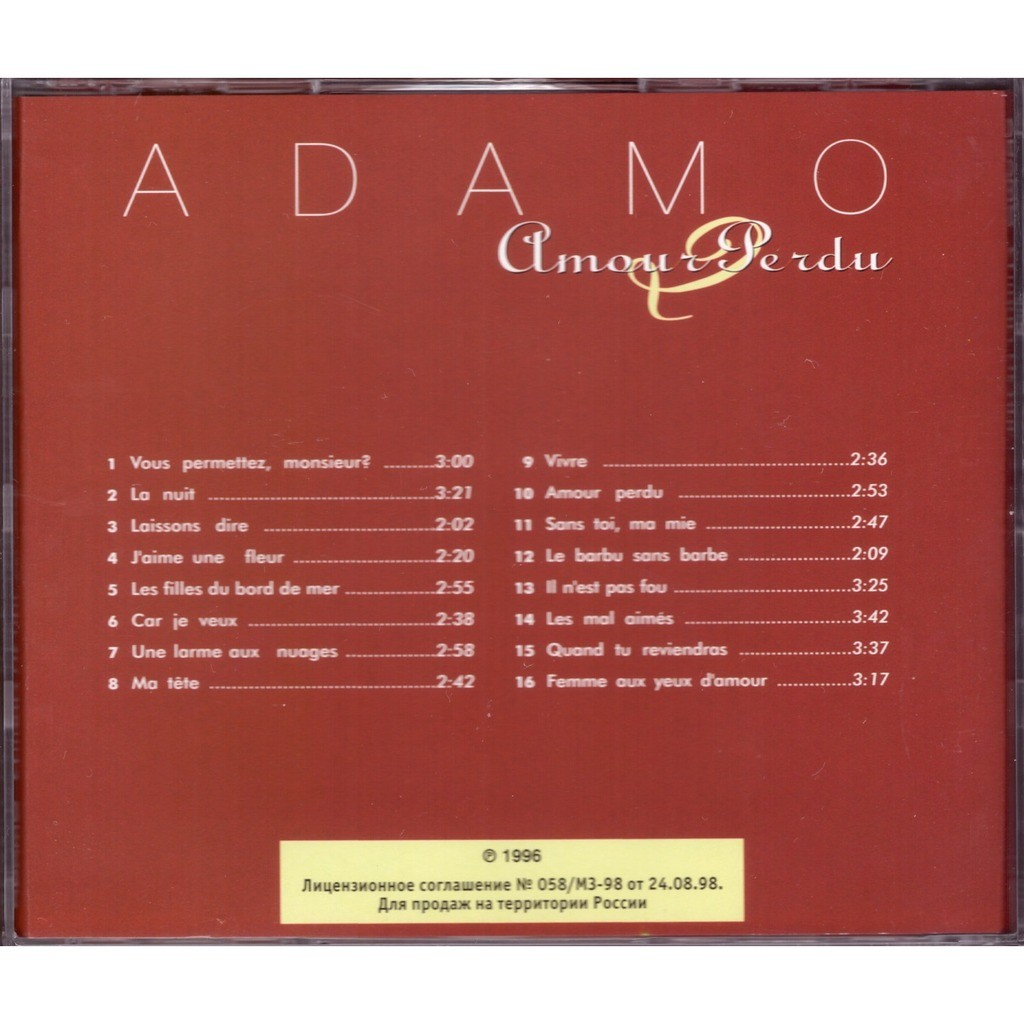 Amour Perdu By Adamo Cd With Rimacd