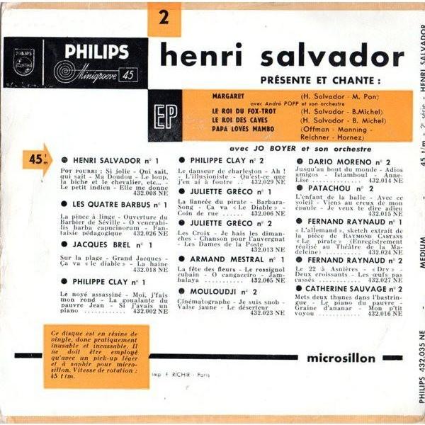 Henri SALVADOR 2éme EP - Margaret + 3 (1955 - rare original French press - 1955)