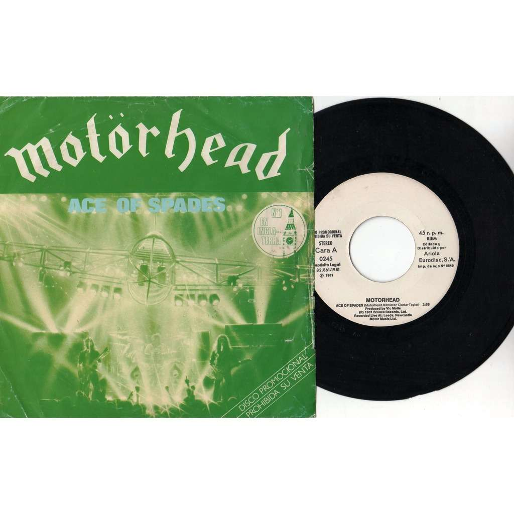 Motorhead Ace Of Spades (Spanish 1981 2-trk w/label 7single promo unique ps)