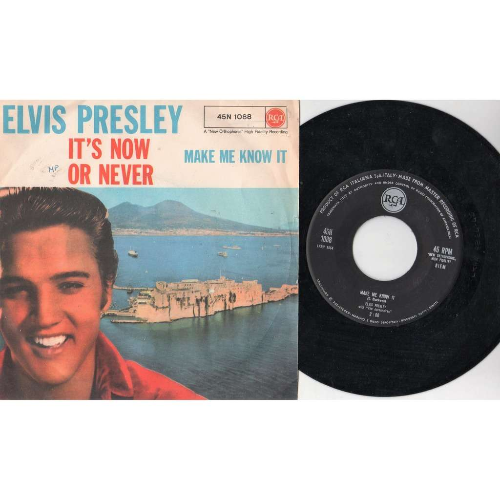 Elvis Presley It's Now Or Never (Italian 1960 2-trk 7single unique 'Cat. No.' white square' logo ps)