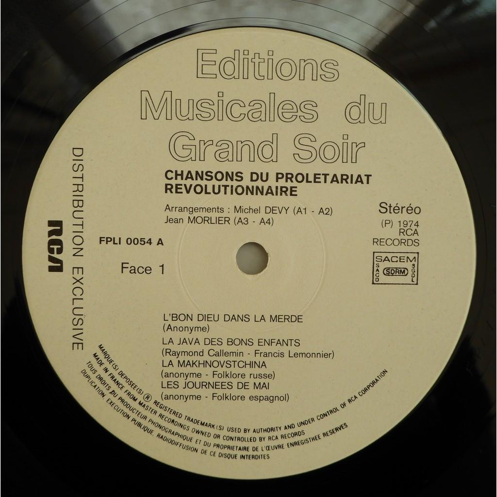 Various Pour en finir avec le travail Chansons du prolétariat révolutionnaire - Vol : 1