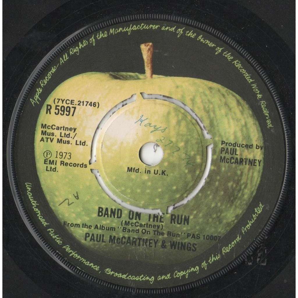 Beatles / Paul McCartney / Wings Band On The Run (UK 1973 2-trk 7single on Apple lbl)