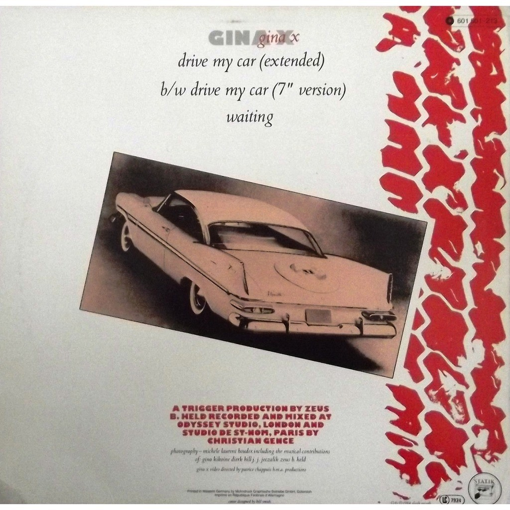 Drive My Car By Gina X 12inch With Vinyl59